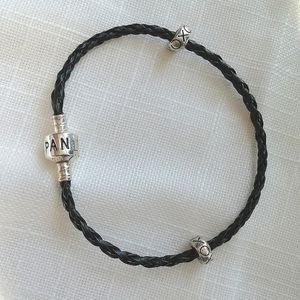 NWOT Pandora cord bracelet black + spacer charms